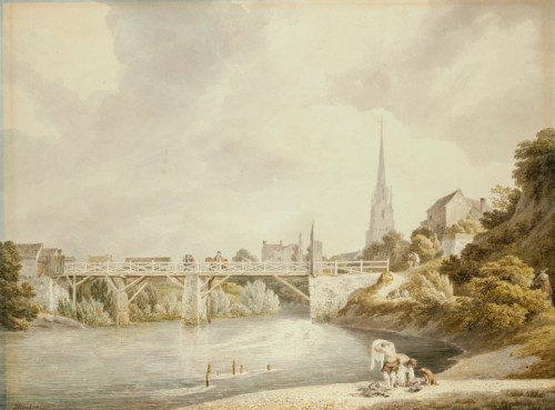 A late 18th century painting by Michael Angelo Rooker, of Tibb's Bridge at Monmouth with the spire of St Mary's church in the background