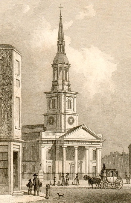 An early 19th century print of St Leonard Shoreditch, where Ambrose was baptised(courtesy Roger Vaughan http://www.rogerco.pwp.blueyonder.co.uk)