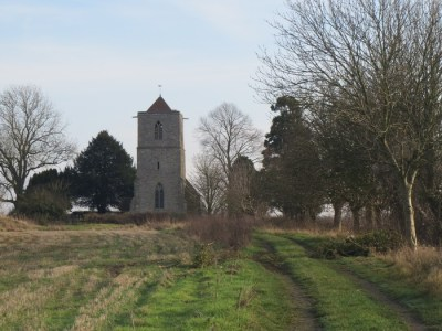 The approach to the old church at Pendock