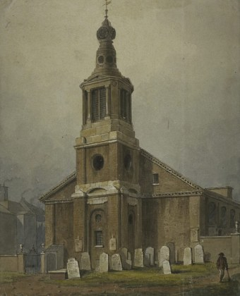 St Anne, Soho, where all but two of Thomas' children were baptised, and where he was buried. (painted by George Shepherd in 1828, courtesy London Metropolitan Archives)